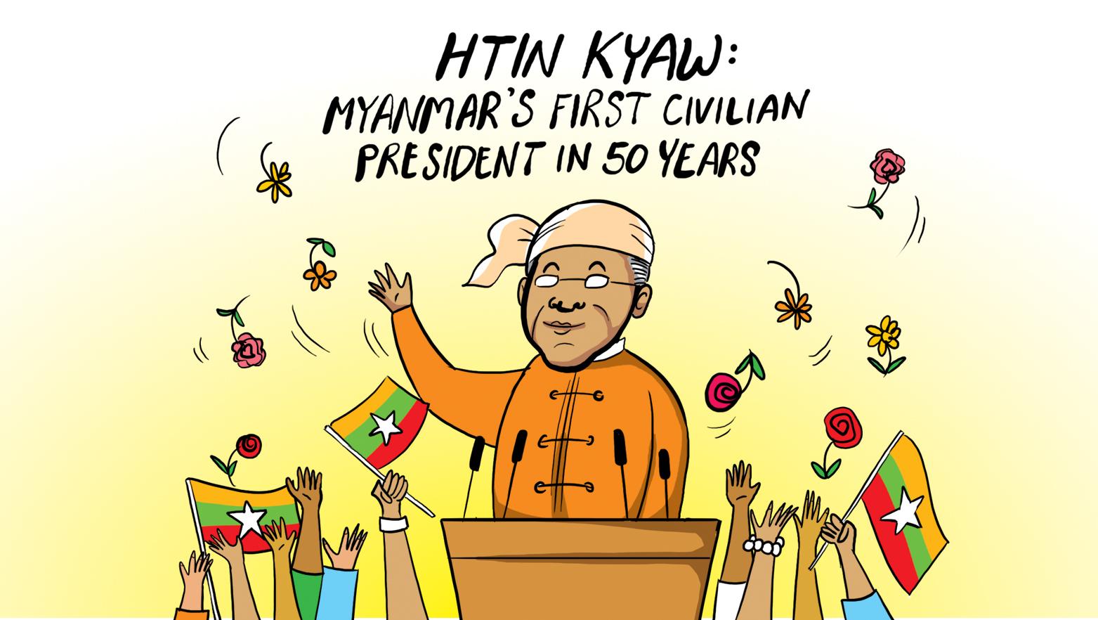 Htin Kyaw: Myanmar's first civilian president in 50 years
