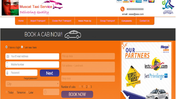 Mobile app to book taxis in Oman