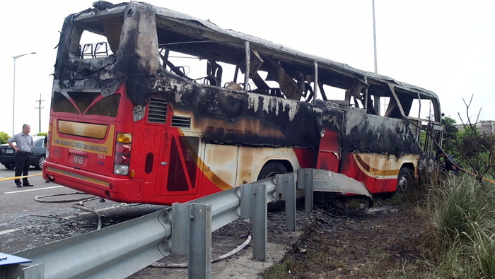 Bus in Taiwan bursts into flames; 26 killed