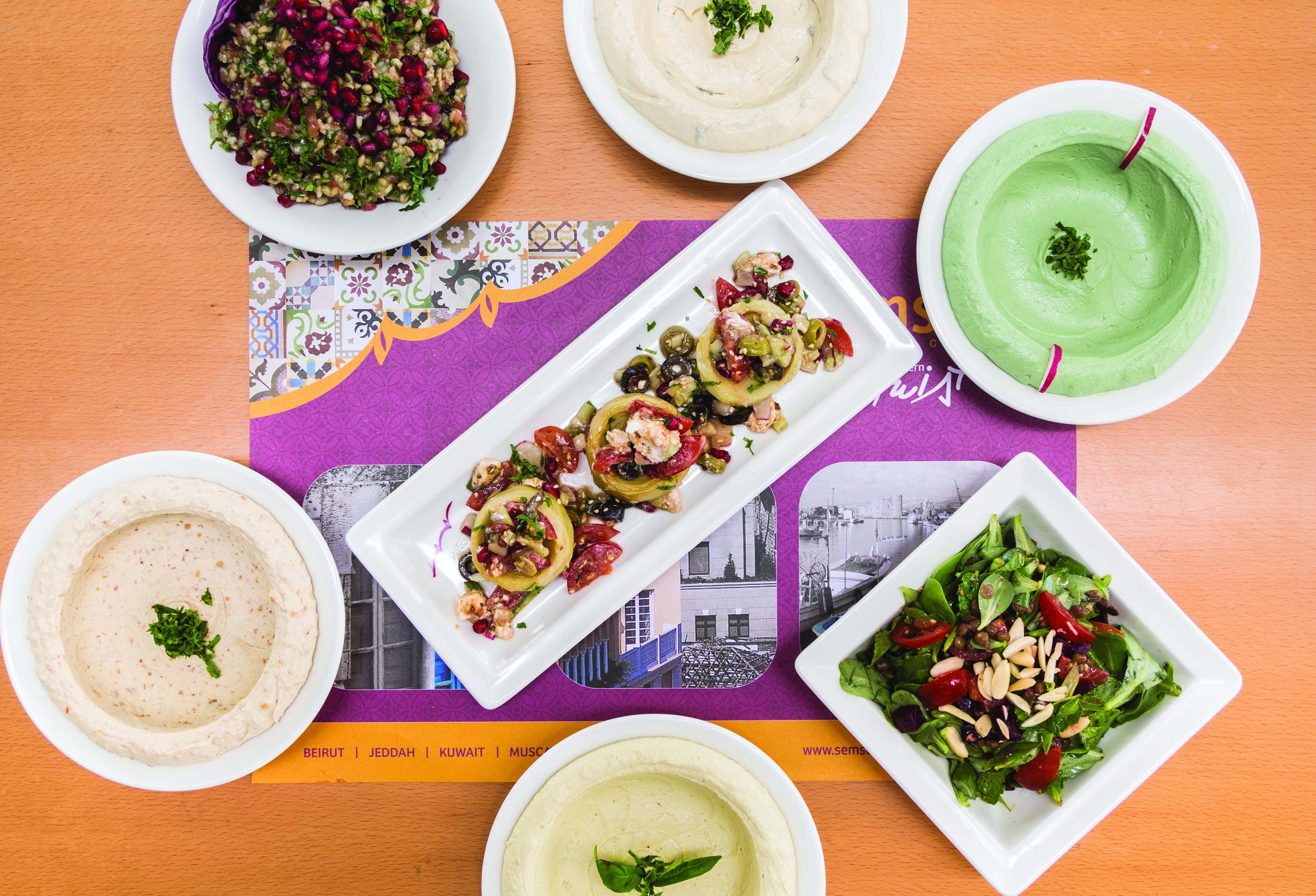 Best Hummus and Salads at Semsom Restaurant in Muscat
