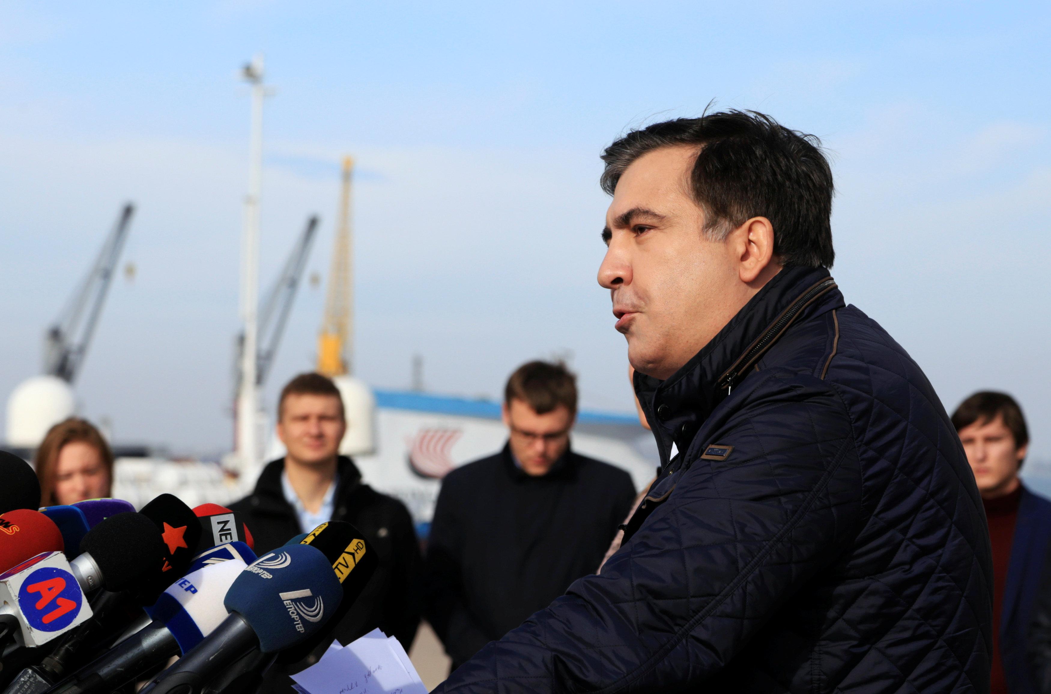 Quitting as regional governor, Saakashvili hits out at Ukraine's Poroshenko