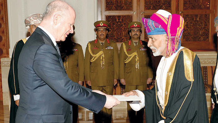 His Majesty Sultan Qaboos receives credentials of US envoy