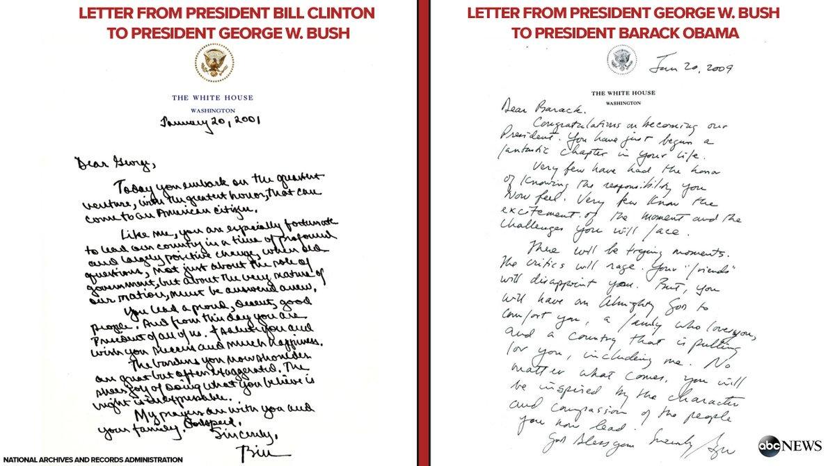 ماذا تقول رسائل الرؤساء الأمريكيين المنتهية ولايتهم إلى خلفائهم؟