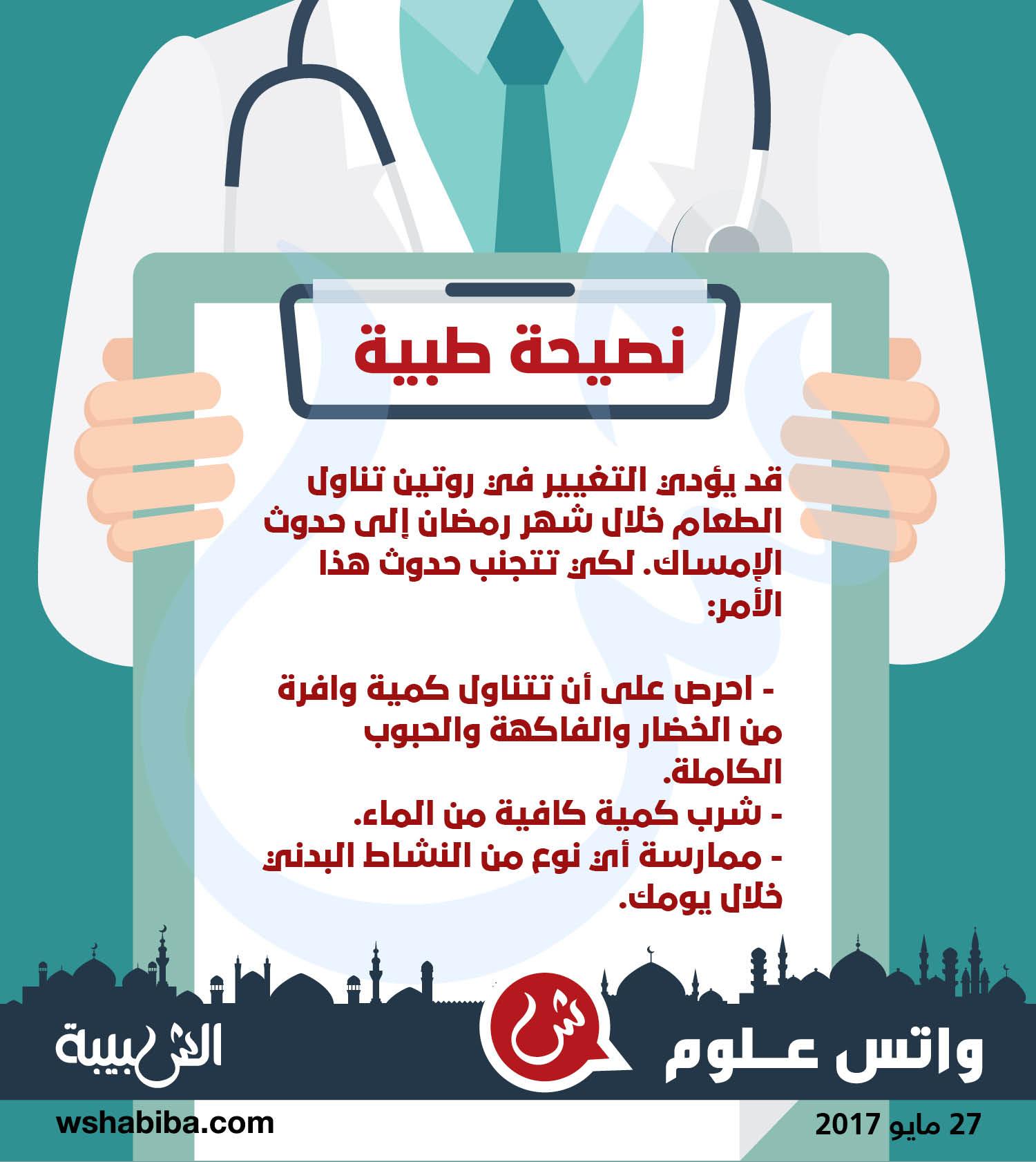 نصيحة طبية :لتجنب الإمساك في شهر رمضان