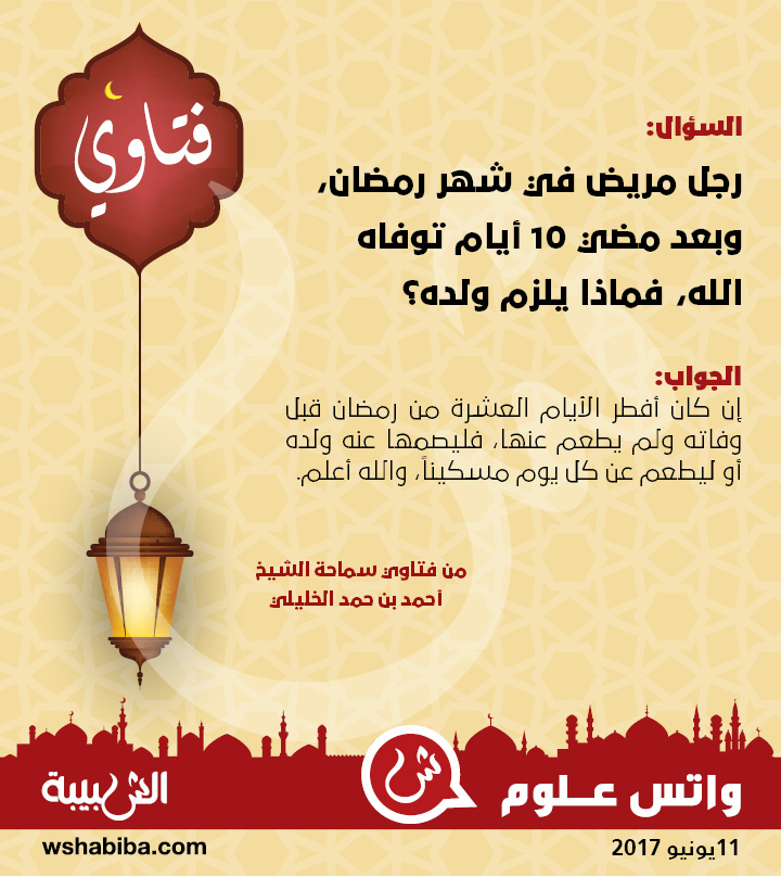 رجل مريض في شهر رمضان، وبعد مضي 10 أيام توفاه الله، فماذا يلزم ولده؟