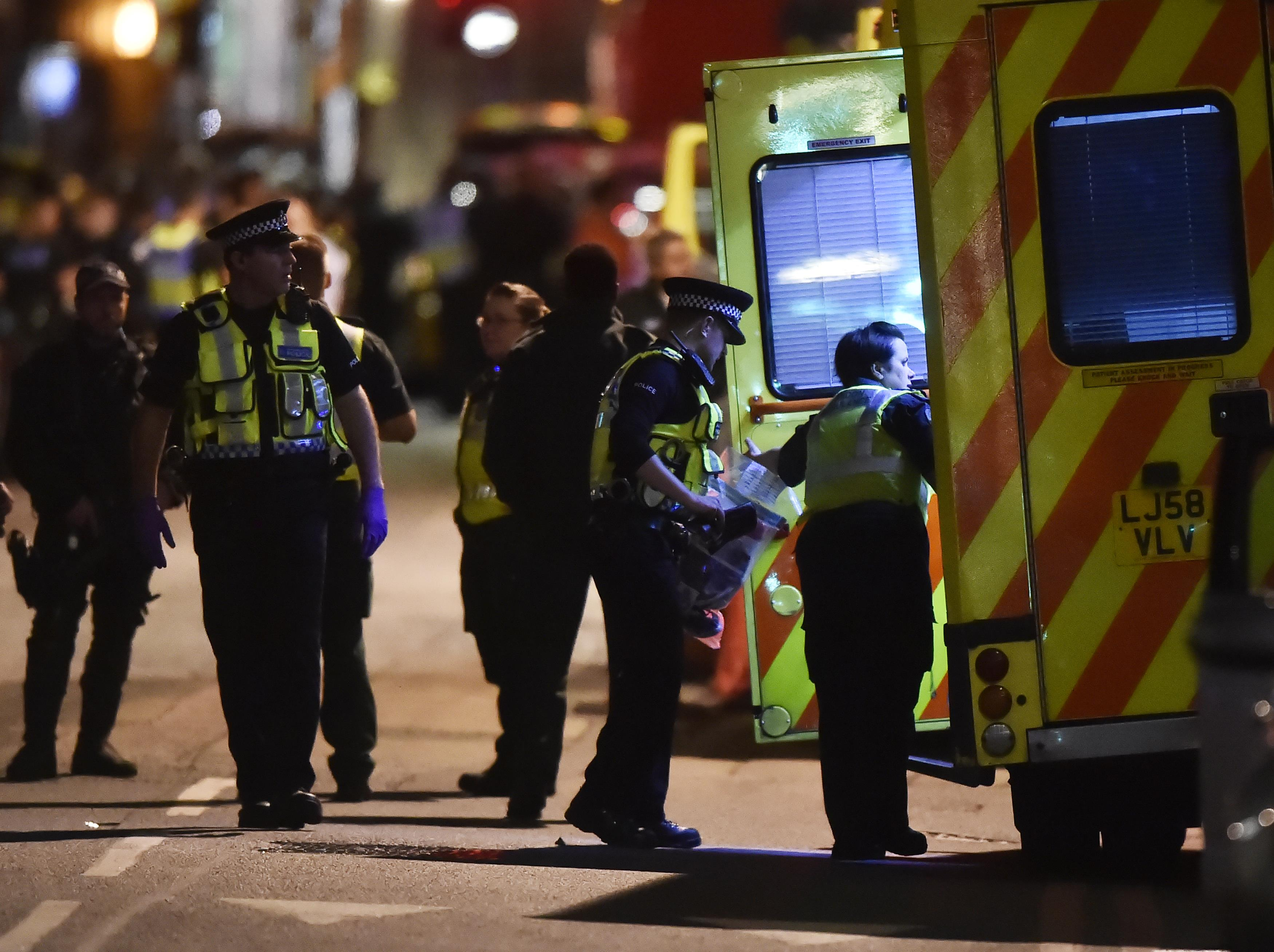 In pictures: Revellers stabbed as attackers plough van into London crowd