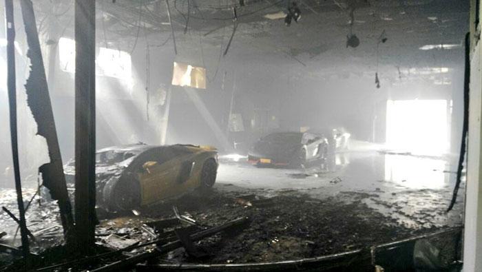 Lamborghini supercar, other vehicles destroyed in Oman's car workshop blaze