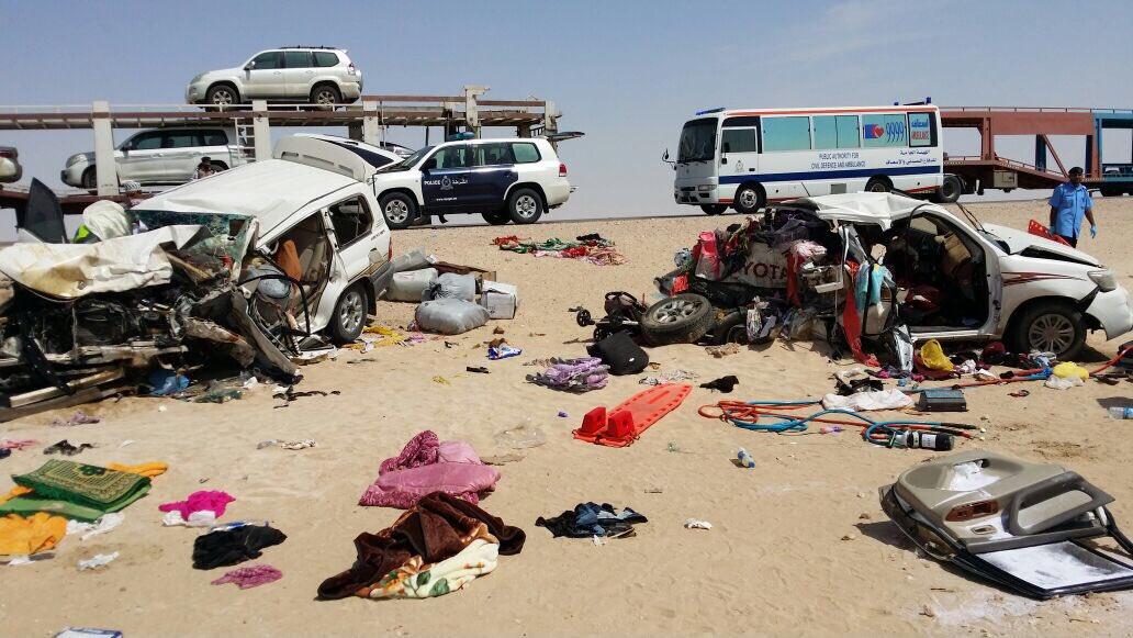 حادث تصادم يودي بحياة 8 أشخاص بينهم 6 مواطنين