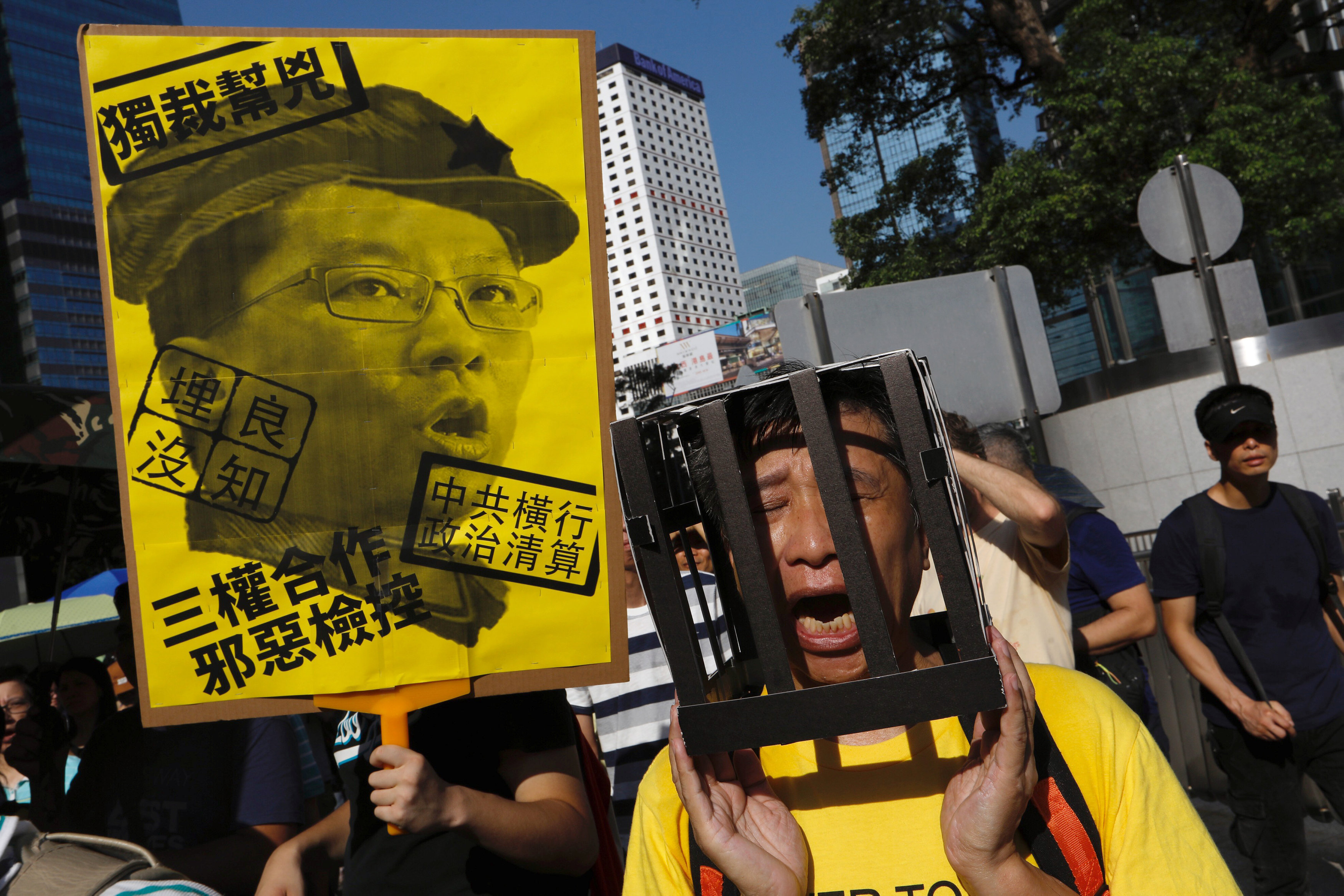 Thousands protest in Hong Kong against jailing of democracy activists