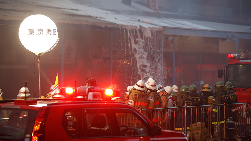 Firefighters battle blaze at Tokyo's Tsukiji fishmarket, world's biggest
