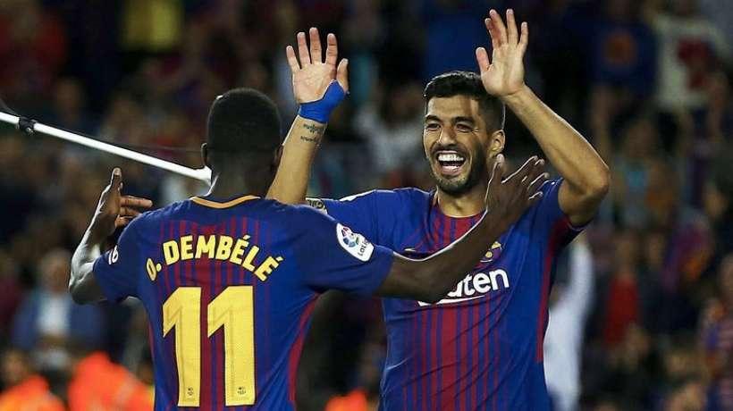 ديمبيلي يكشف ما دار بينه وبين سواريز قبل بداية مباراة اسبانيول