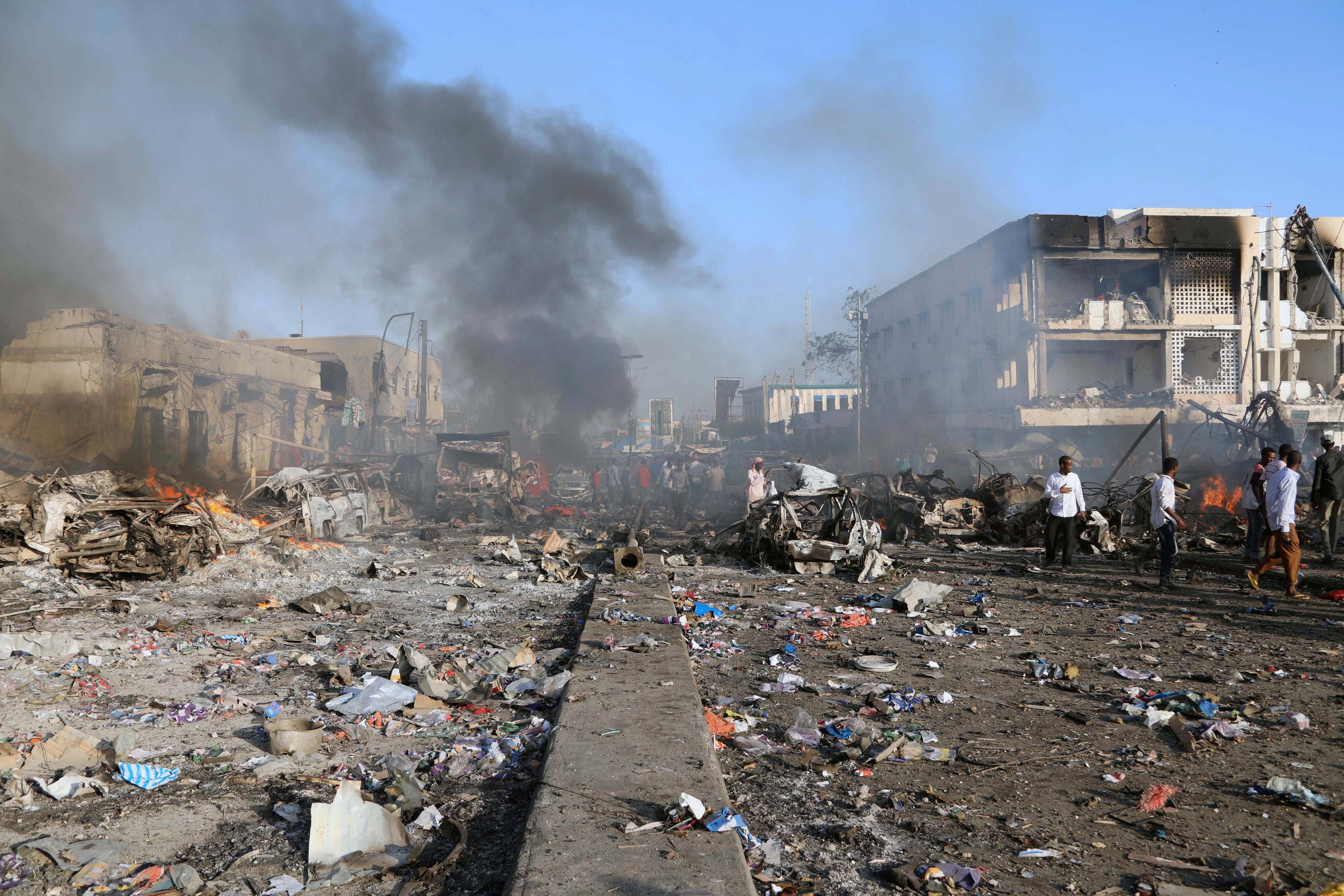 السفارة القطرية تتعرض لأضرار جسيمة بانفجار مقديشو