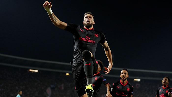 Football: Giroud acrobatics give Arsenal third win in Europa League
