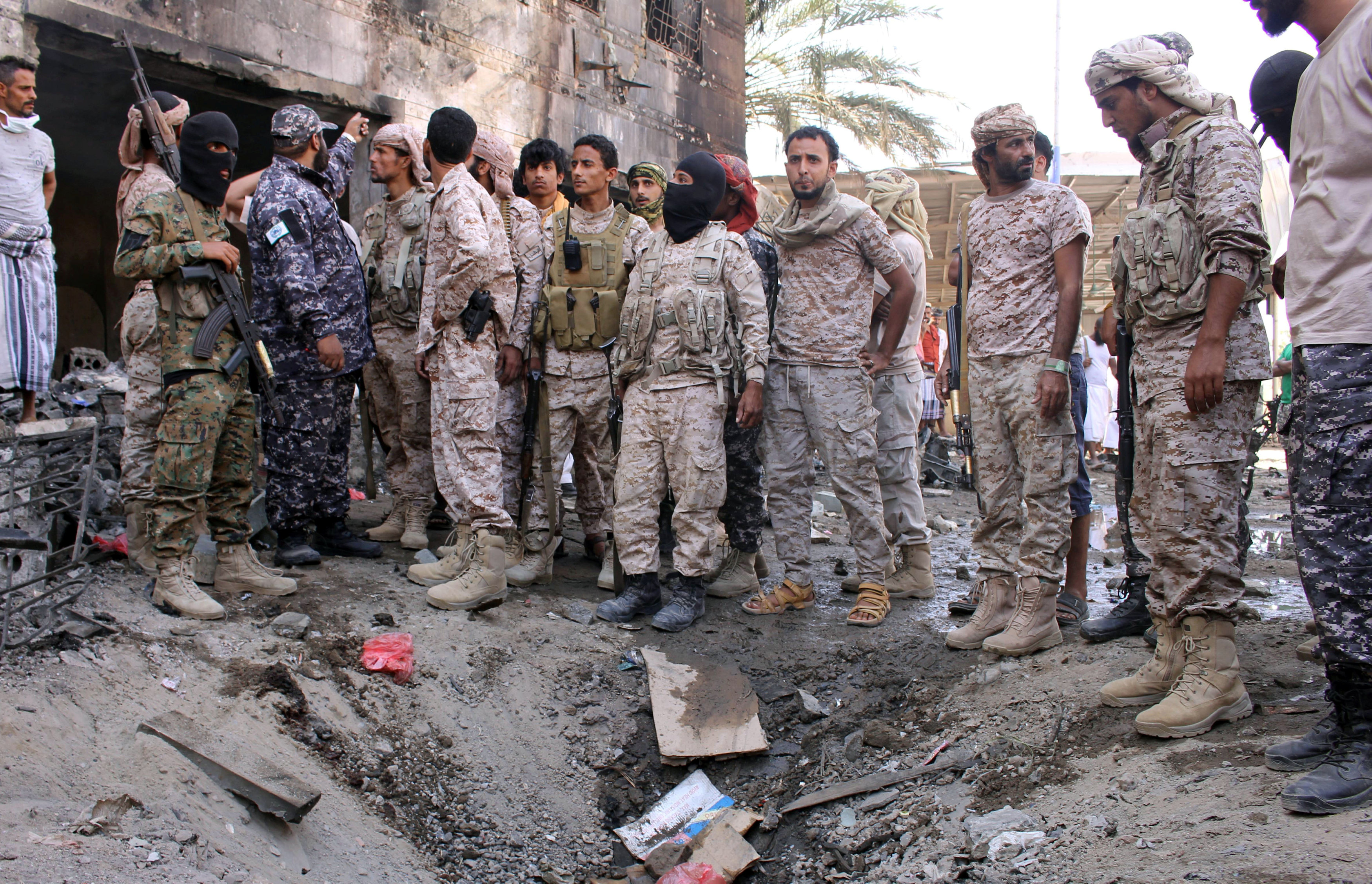 Six killed as suicide bombers strikes at security camp in Yemen's southern city of Aden