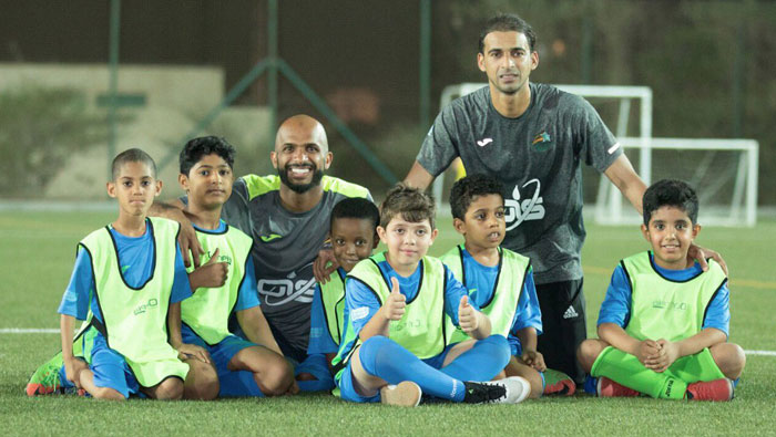 Oman striker Emad Al Hosni visits Al Habsi Football School