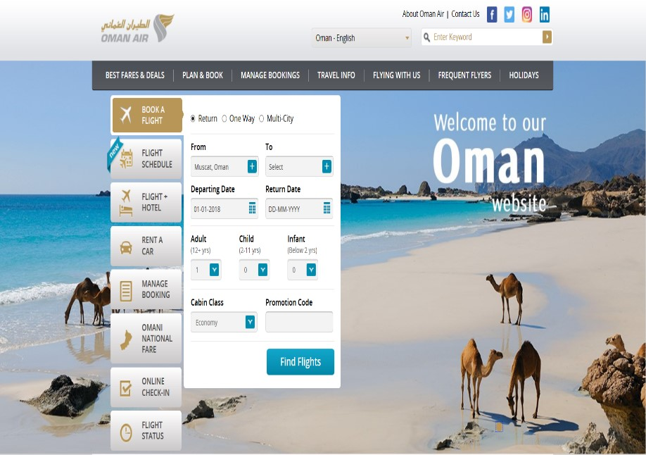 Oman Air launches a new dedicated Oman homepage on its website