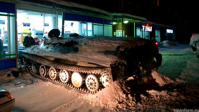 Russian man rams armoured personnel carrier into shop