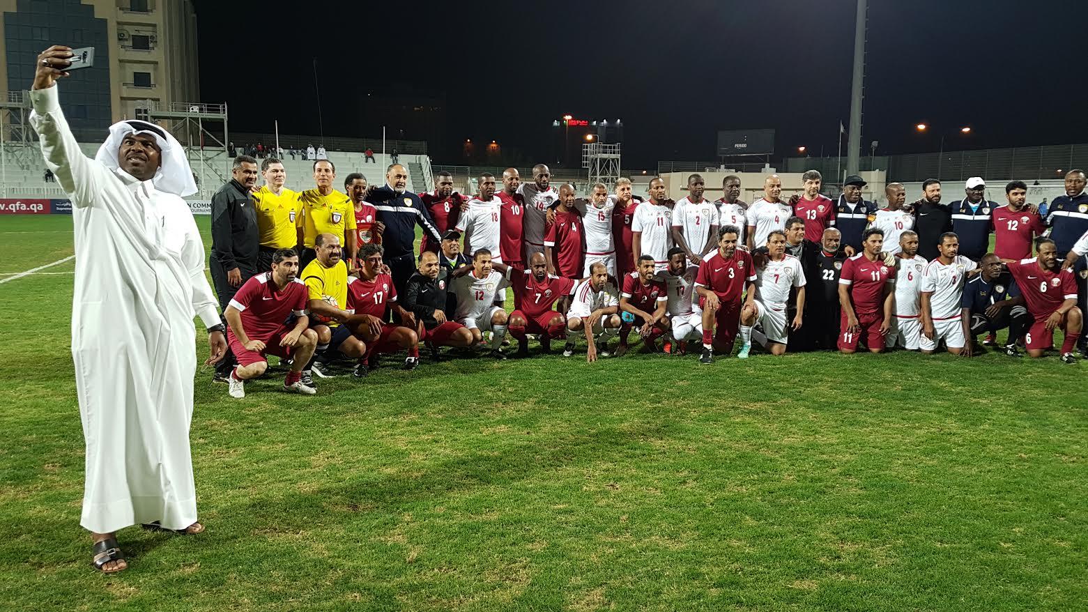 بالفيديو والصور.. من مباراة منتخبنا الوطني وقطر في خليجية قدامى اللاعبين