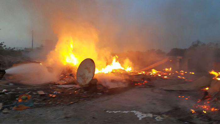 Caravan goes up in flames in Oman