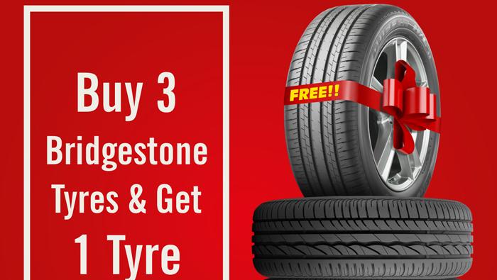 'Buy 3 Get 1 Free' offer on Bridgestone tyres
