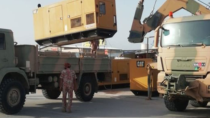 Military convoy en route to rural Dhofar to help restore electricity