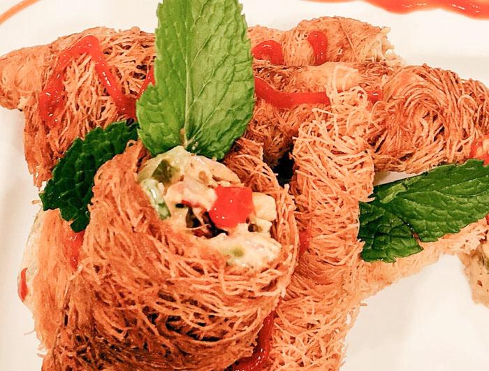 Iftar recipes: Tahini chicken kunafa cone