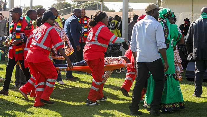 One person dies after blast at Zimbabwe president's rally-state radio