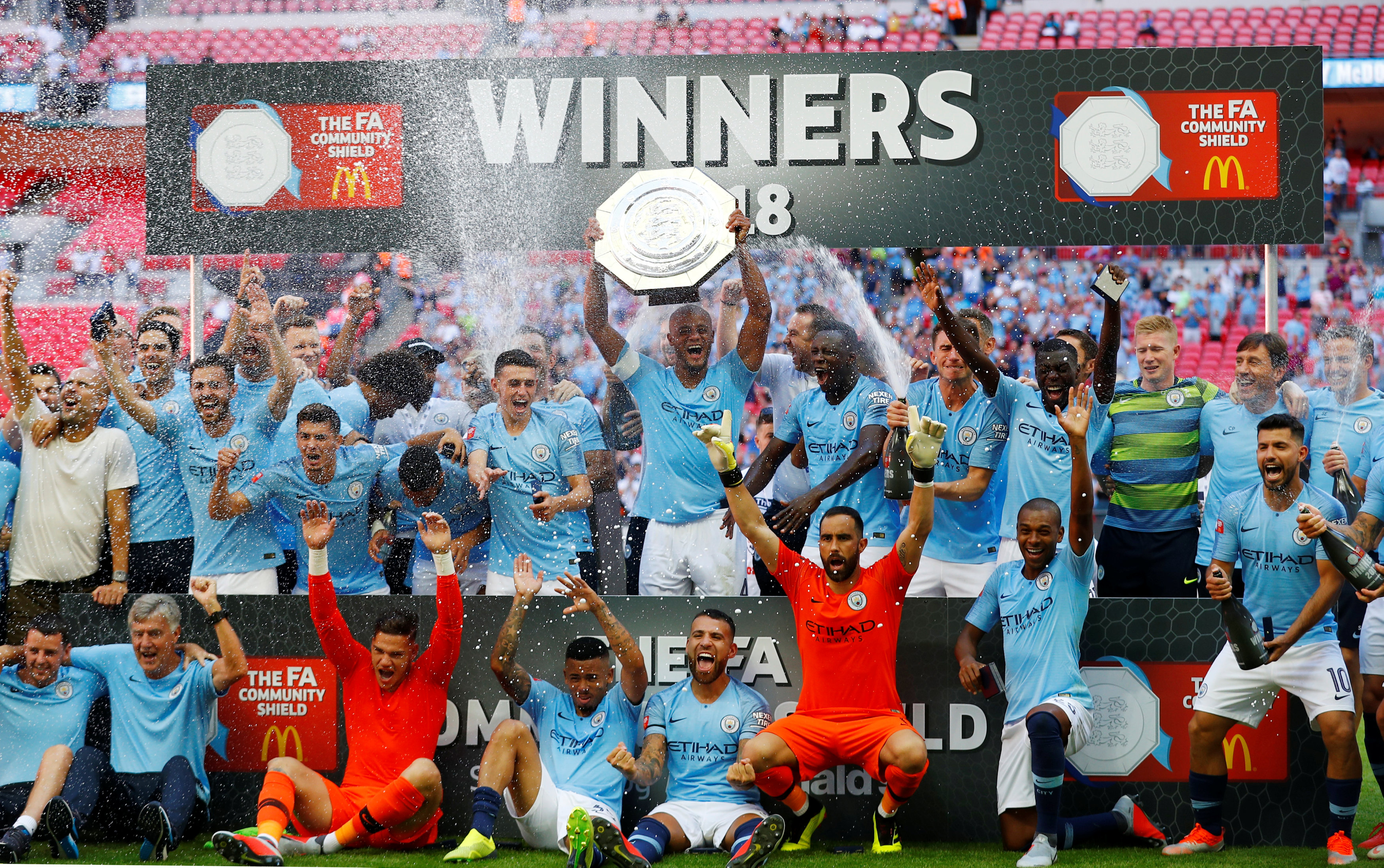 Football: Aguero strikes as City stroll past Chelsea at Wembley