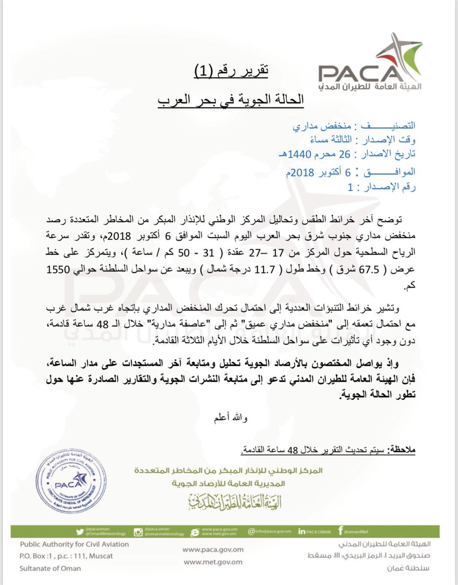 """""""هيئة الطيران المدني"""" تصدر تقريرًا بشأن الحالة الجوية في بحر العرب"""