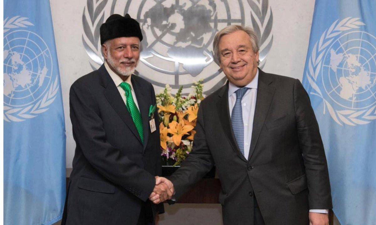 معالي يوسف بن علوي يلتقي بالأمين العام للأمم المتحدة