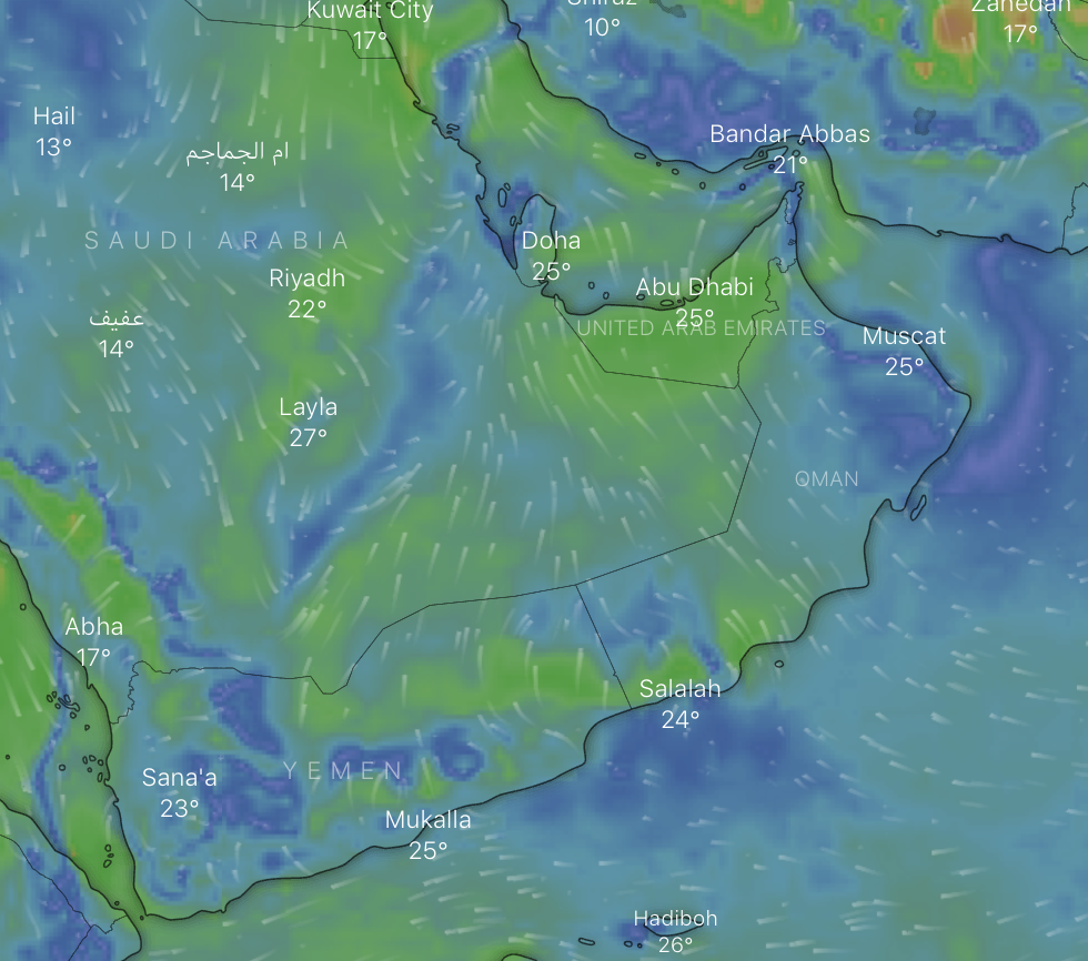Clouds form over northern parts of Oman