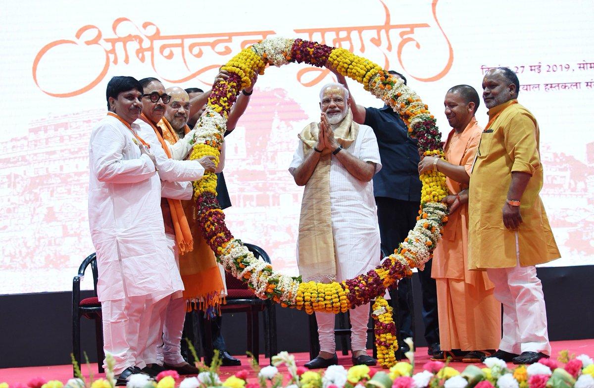 Modi praises BJP's courage during Varanasi victory rally