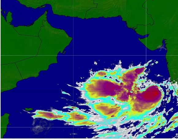 Tropical storm Vayu 1,480 km from Oman Coast