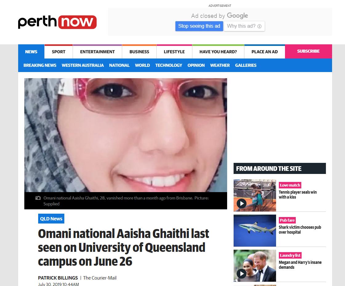 """الإعلام الإسترالي يكشف تفاصيل جديدة حول اختفاء الطالبة """"عايشة الغيثية"""""""