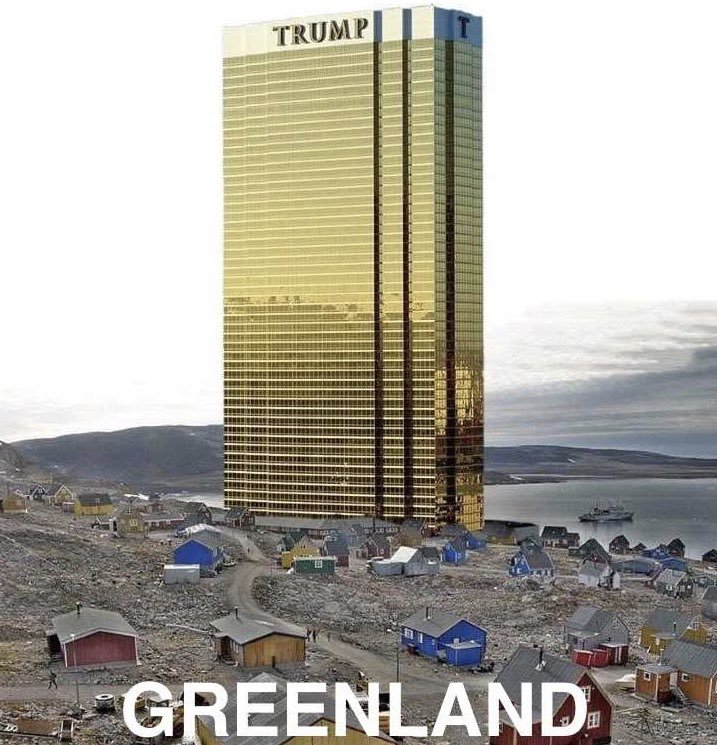 Trump tweets morphed picture of Trump Towers in Greenland
