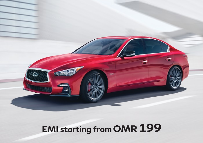 Avail limited time low EMI offer of OMR 199 on dynamic INFINITI Q50