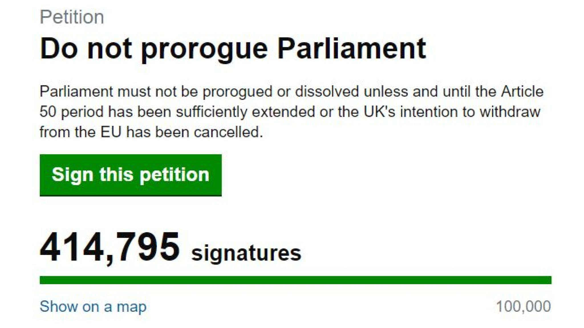 Hundreds of thousands sign petition against UK parliament proroguing