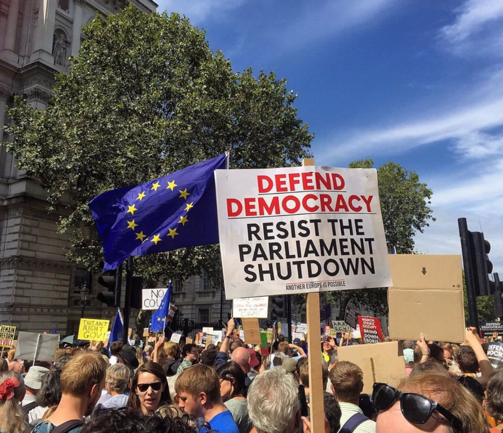 Thousands take to streets to protest Boris Johnson's 'coup'