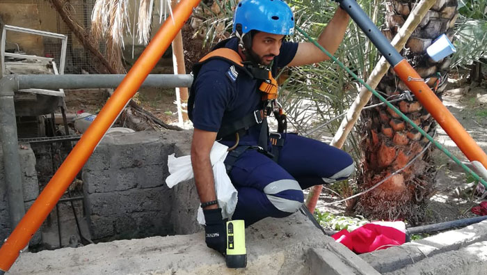 Public Authority for Civil Defence and Ambulance rescues cat from well