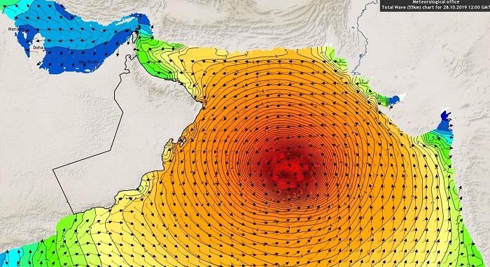 Rough seas on Oman coast due to Cyclone Kyarr