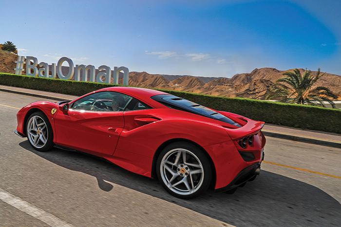 Driving Ferrari F8 Tributo on the mountain roads of Oman