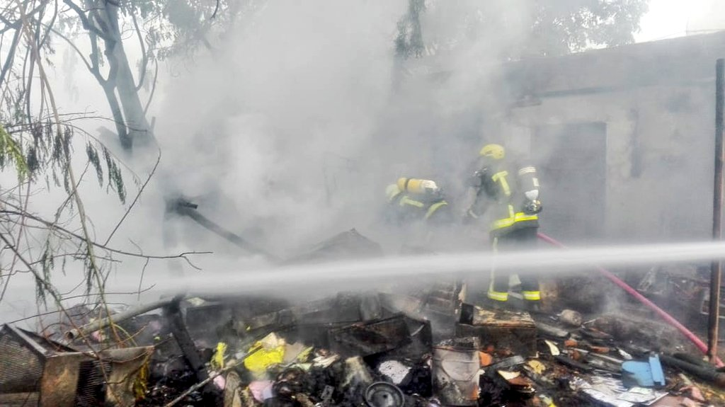 Five rescued from fire in Oman