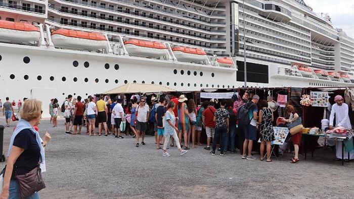 Two cruise ships visit Khasab Port in Oman