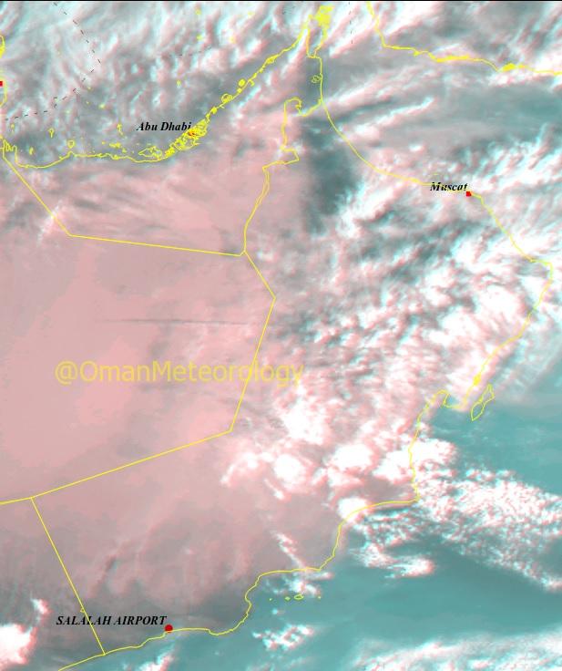 الأرصاد : تدفق السحب على الأجزاء الشمالية للسلطنة