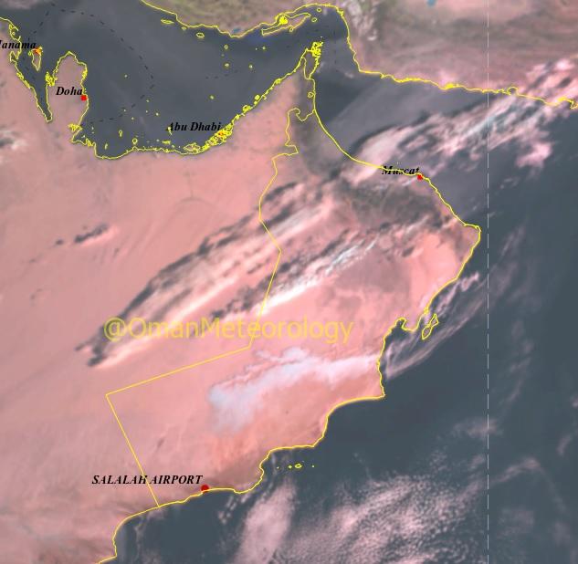 الأرصاد: تدفق السحب و الغبار والعوالق الترابية على معظم محافظات السلطنة
