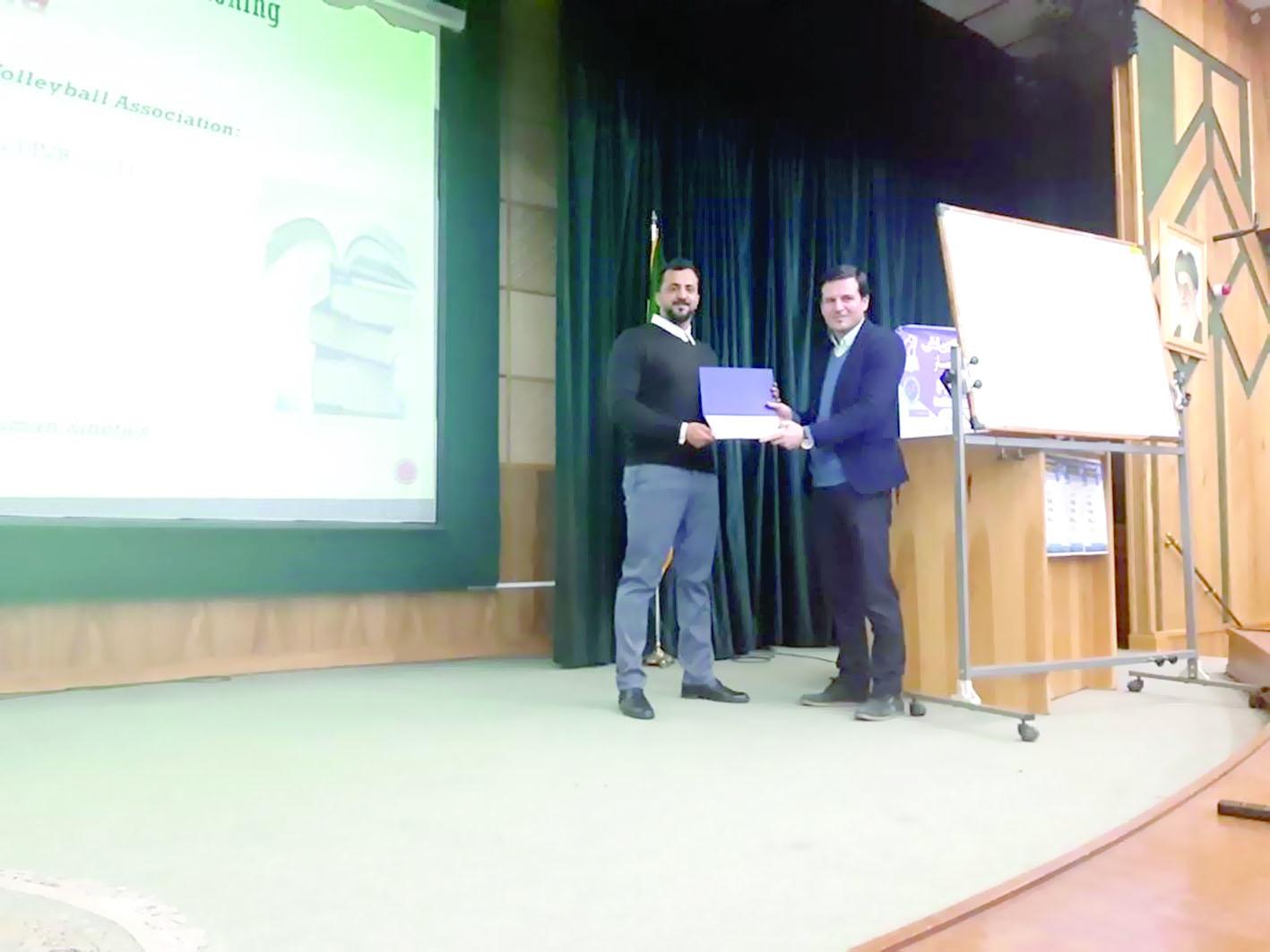 شهاب الريامي يختتم مشاركته في الدورة الدولية للإعداد البدني بإيران
