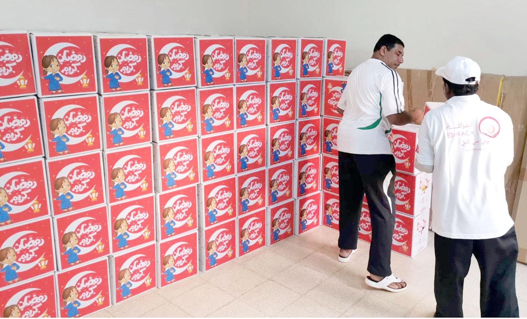 """""""إشراقة"""" توزع 11,000 صندوق مؤونة غذائية"""