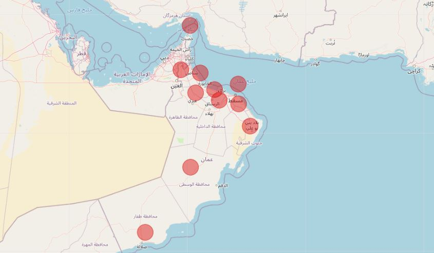 """بالأرقام: جميع محافظات السلطنة سجلت إصابات جديدة بـ""""كورونا"""" اليوم.. عدا مسندم"""