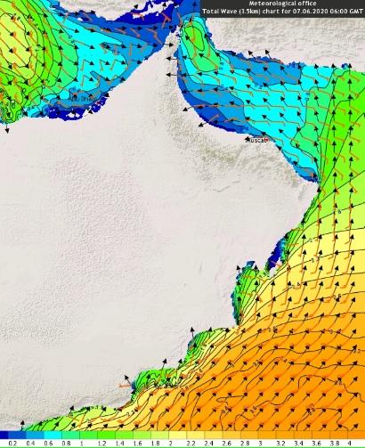 امواج سواحل مسندم وبحر عمان..سترتفع خلال 48 ساعة