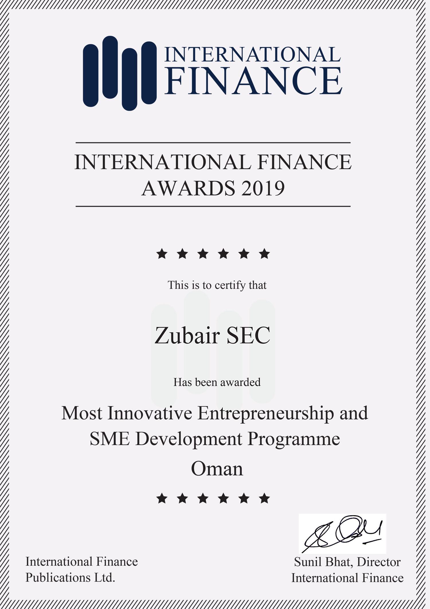Zubair SEC wins International Finance Award 2019